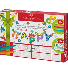 Faber-Castell - Set Greeting Cards con 60 pennarelli Connector