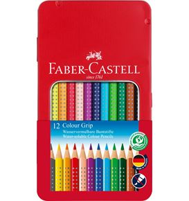 Faber-Castell - Matite Colorate Colour Grip Astuccio metallo 12