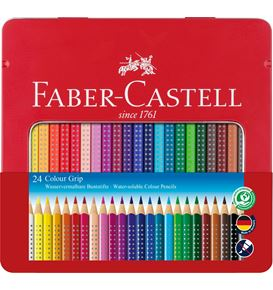 Faber-Castell - Matite Colorate Colour Grip Astuccio metallo 24