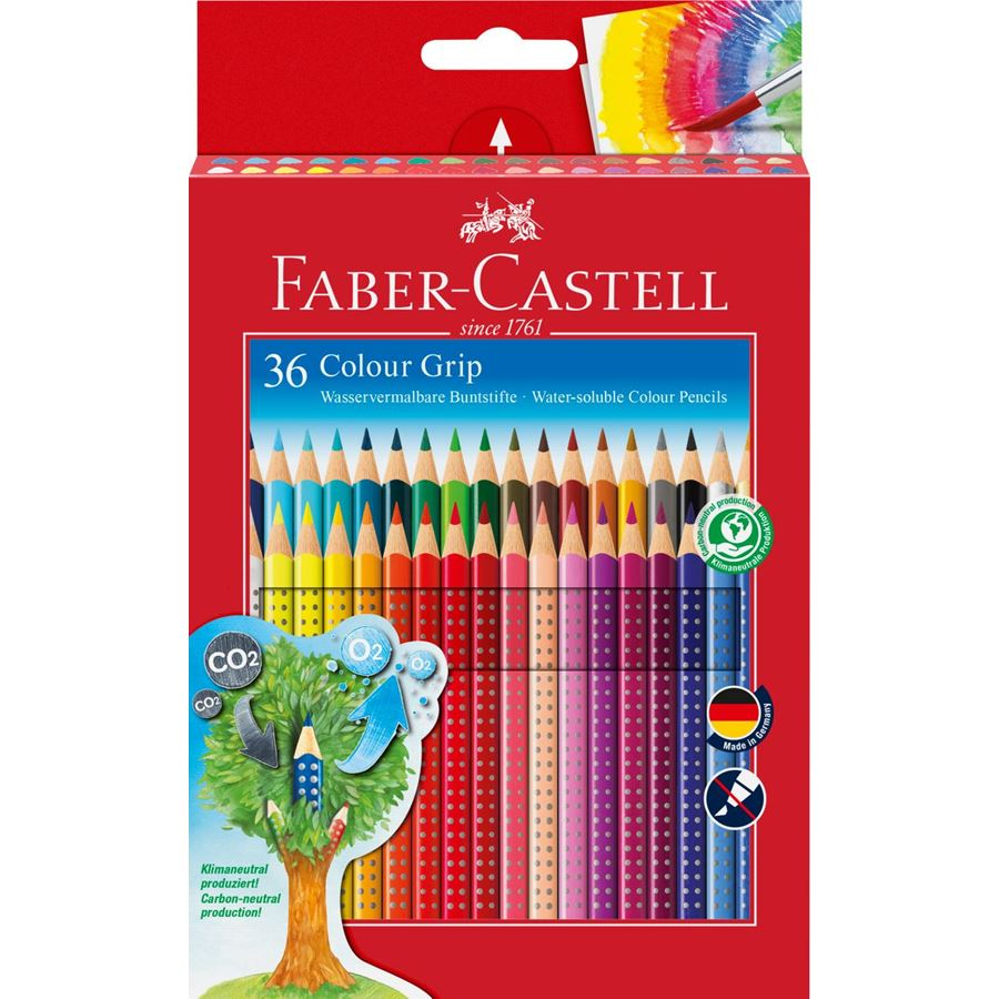Faber-Castell - Asttuccio di cartone con 36 matite colorate Colour Grip