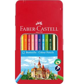Faber-Castell - Conf. metallo con 12 matite colorate permanenti con finestra