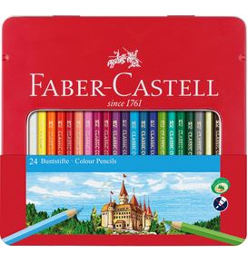 Faber-Castell - Conf. metallo con 24 matite colorate permanenti con finestra
