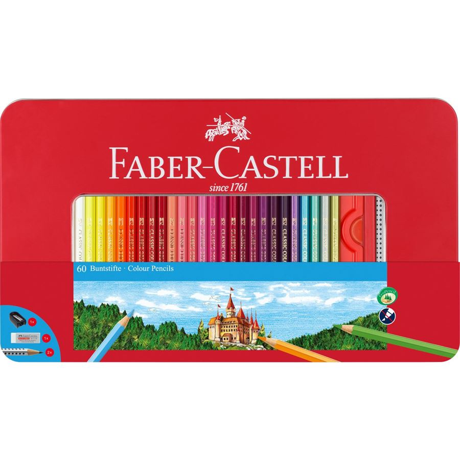 Faber-Castell - Conf. metallo con 60 matite colorate permanenti con finestra
