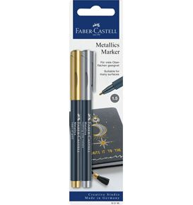 Faber-Castell - Blister c. 2 marker metallics heart gold/nothing else metals