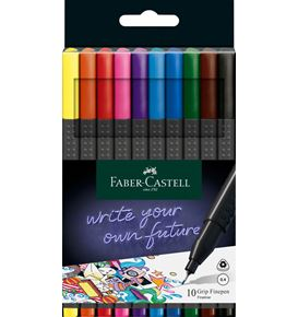 Faber-Castell - Finepen Grip 0.4mm Bustina plastica con 10