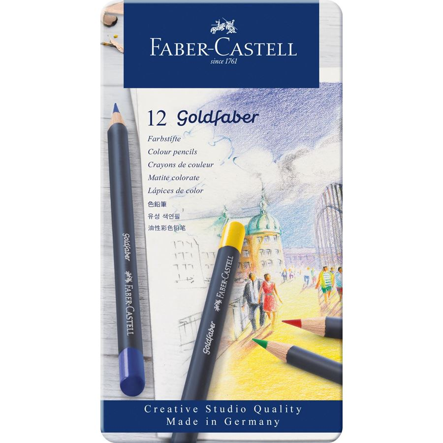 Faber-Castell - Matite colorate Goldfaber conf. metallo da 12