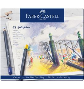 Faber-Castell - Matite colorate Goldfaber conf. metallo da 48