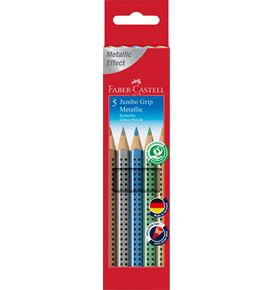 Faber-Castell - Astuccio cartone con 5 matite colorate Jumbo Grip Metallic