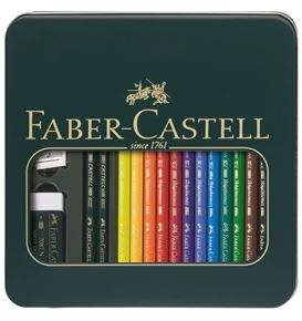 Faber-Castell - Matite Colorate Polychromos+CASTELL 9000 Astuccio metallo 12