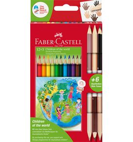 Faber-Castell - Matite colorate triangolari Children of the World 12+3