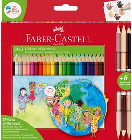 Faber-Castell - Matite colorate triangolari Children of the World 24+3