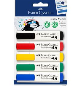 Faber-Castell - Blister con 5 markers per tessuti